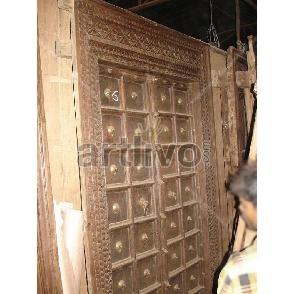 Vintage Indian Sculpted Supreme Solid Wooden Teak Door