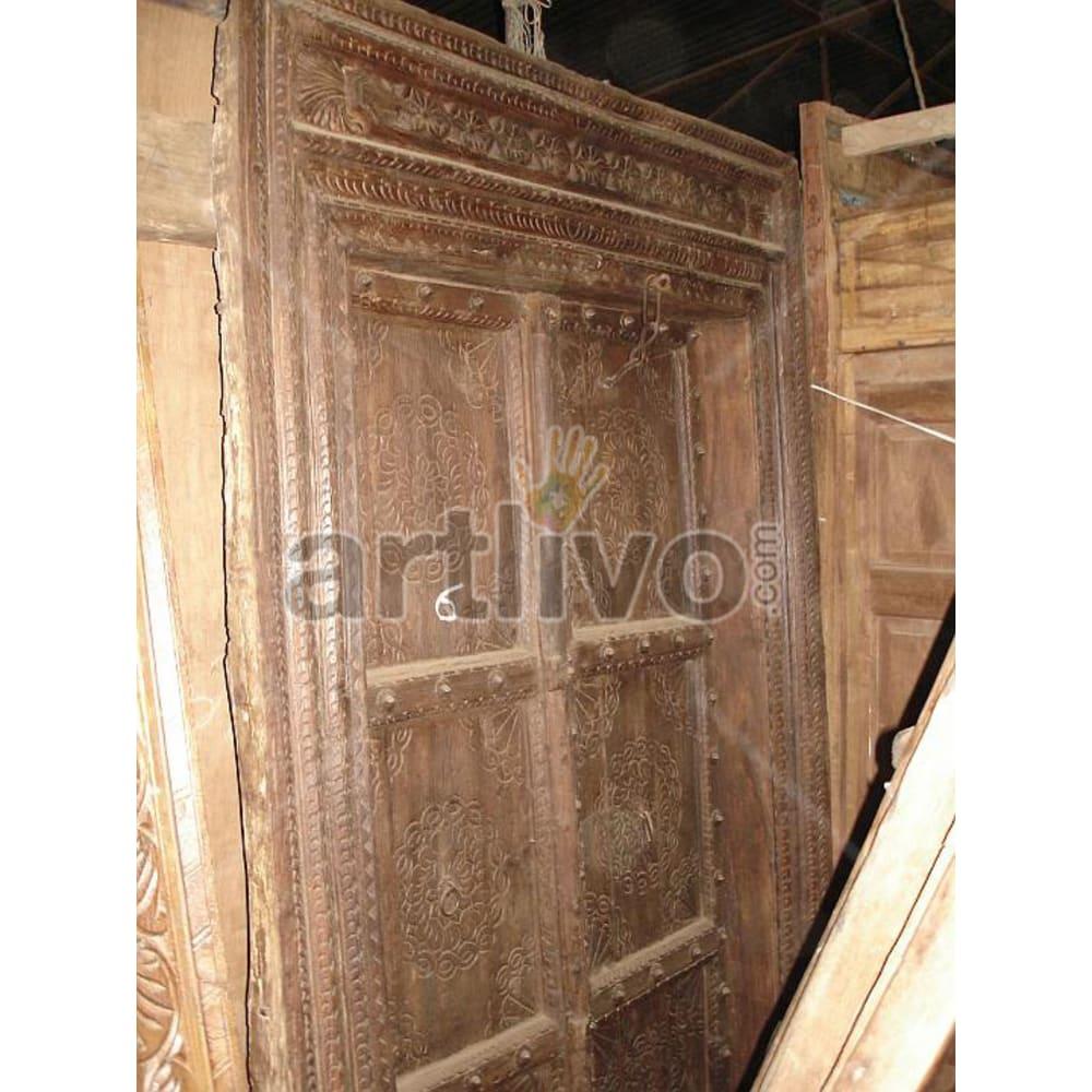 Vintage Indian Sculpted Superb Solid Wooden Teak Door