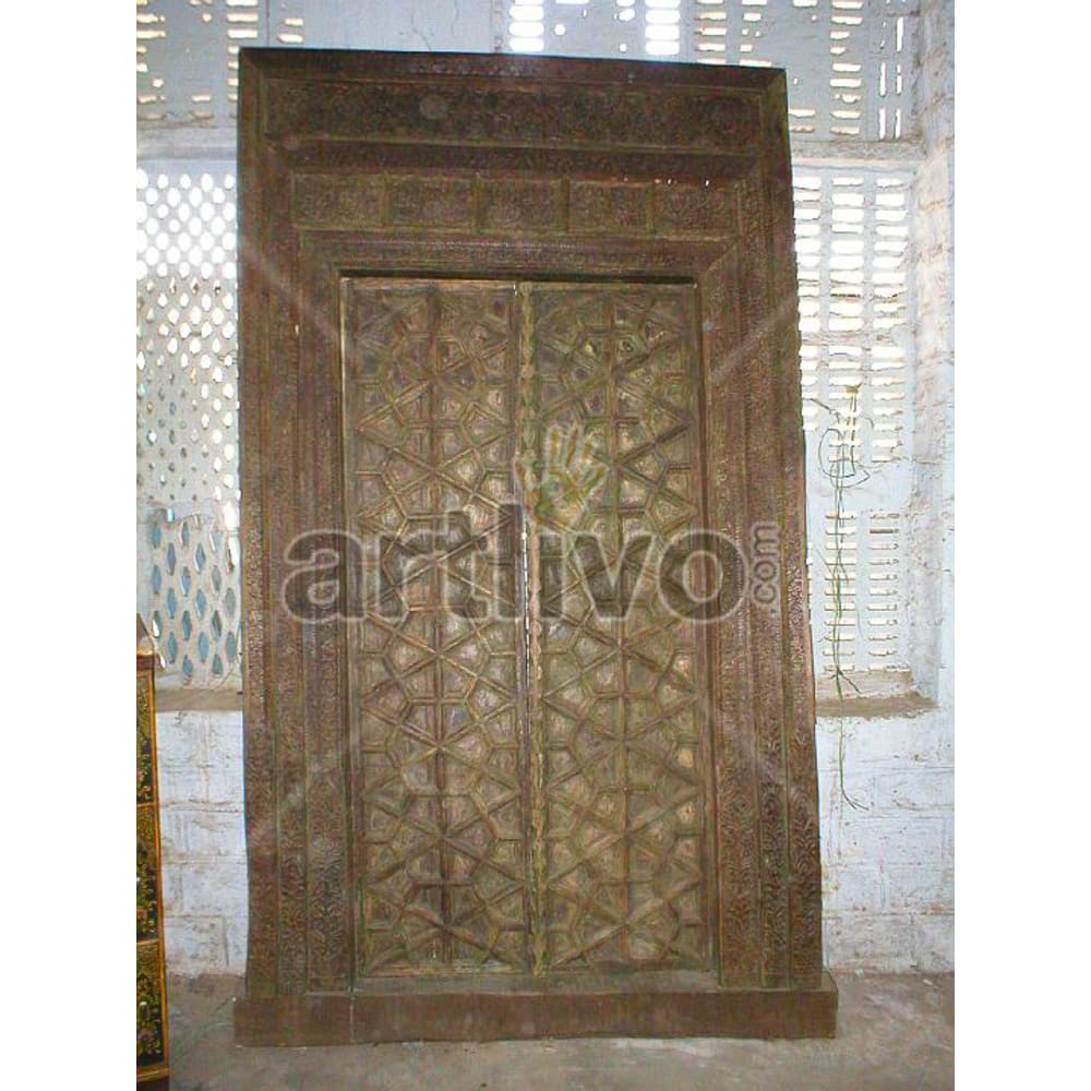 Vintage Indian Sculptured Plush Solid Wooden Teak Door