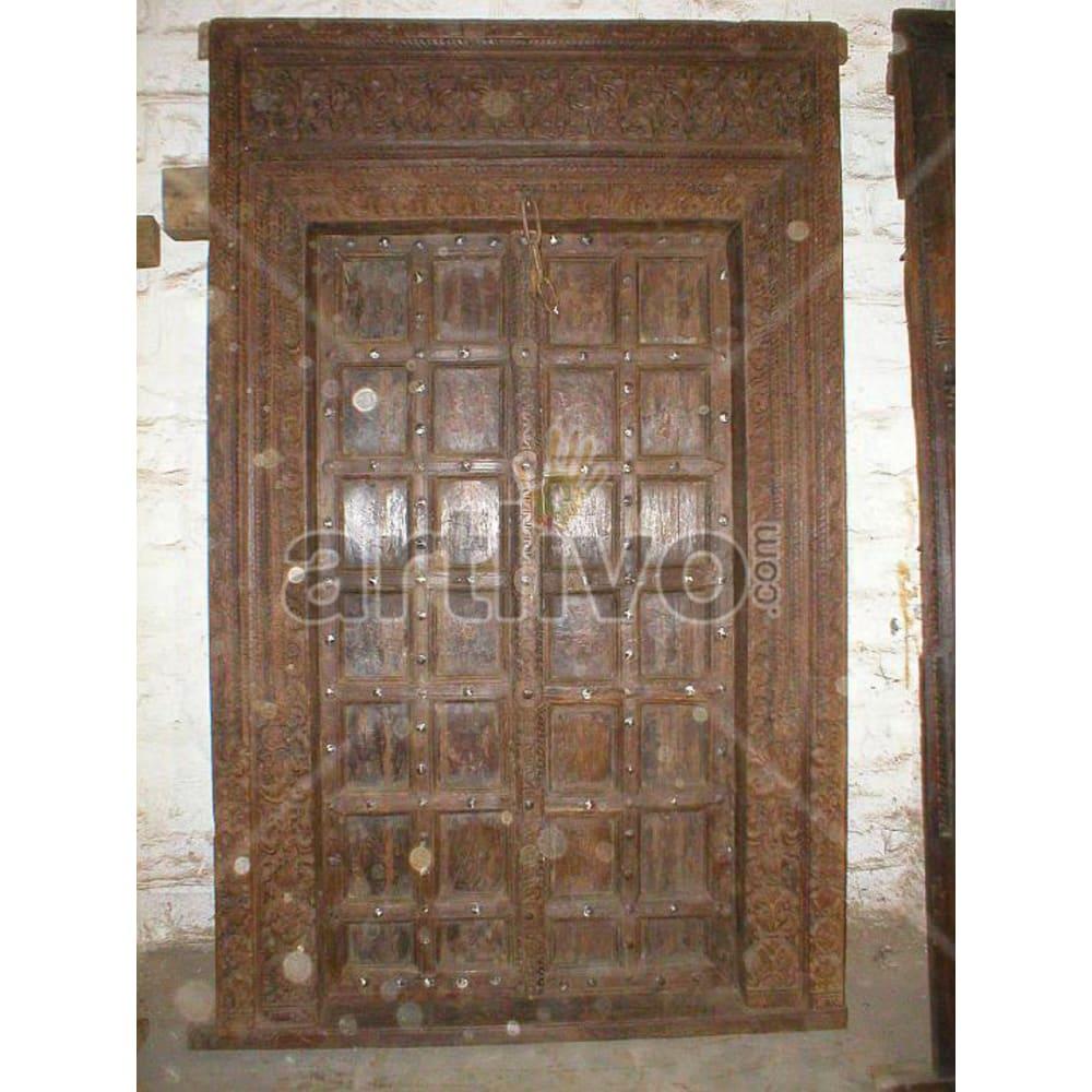 Vintage Indian Sculptured Royal Solid Wooden Teak Door