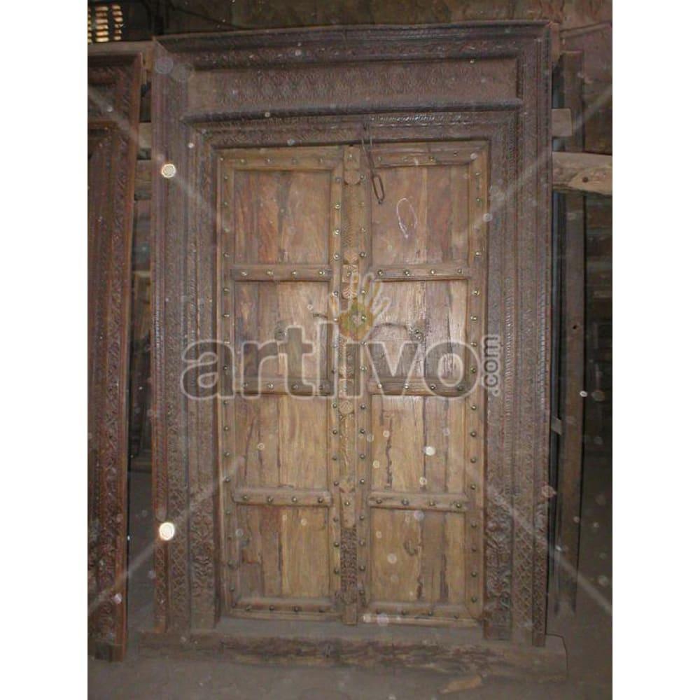 Vintage Indian Beautiful Unique Solid Wooden Teak Door