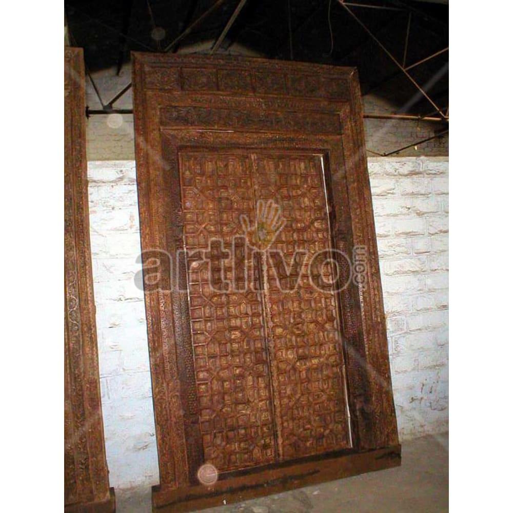 Vintage Indian Beautiful Imperial Solid Wooden Teak Door