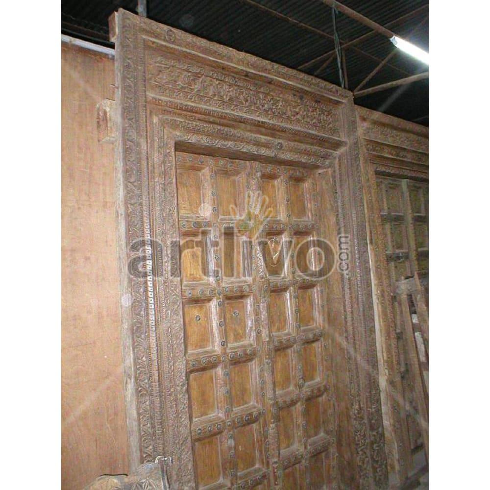 Vintage Indian Beautiful Marvellous Solid Wooden Teak Door