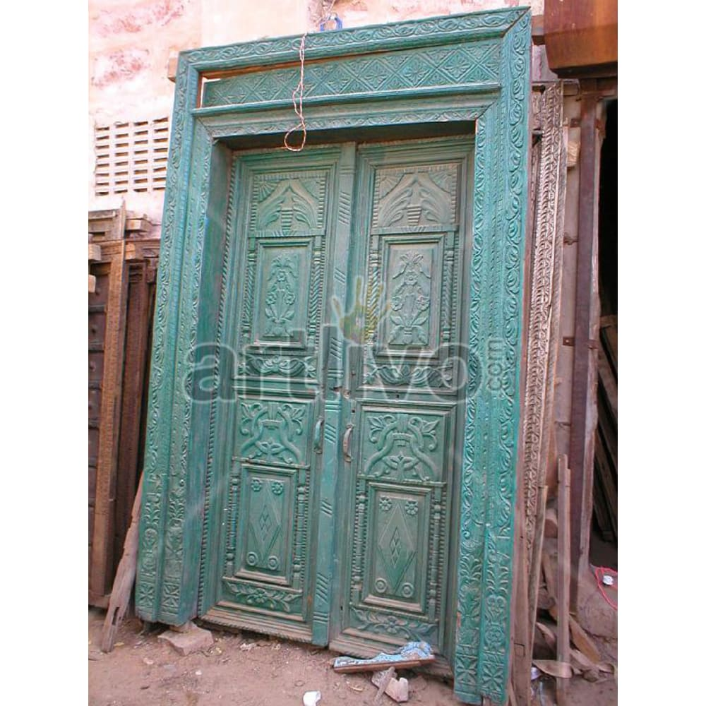 Antique Indian Carved Deluxe Solid Wooden Teak Door with green paint