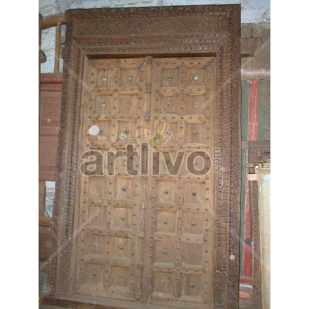Antique Indian Carved Lavish Solid Wooden Teak Door