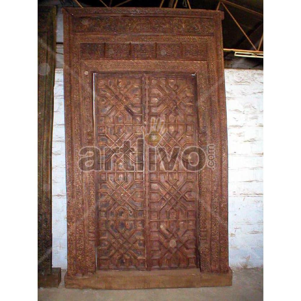 Antique Indian Carved Splendid Solid Wooden Teak Door