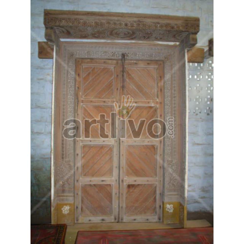 Antique Indian Brown Plush Solid Wooden Teak Door