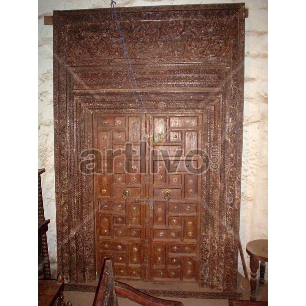 Antique Indian Brown Magnificent Solid Wooden Teak Door