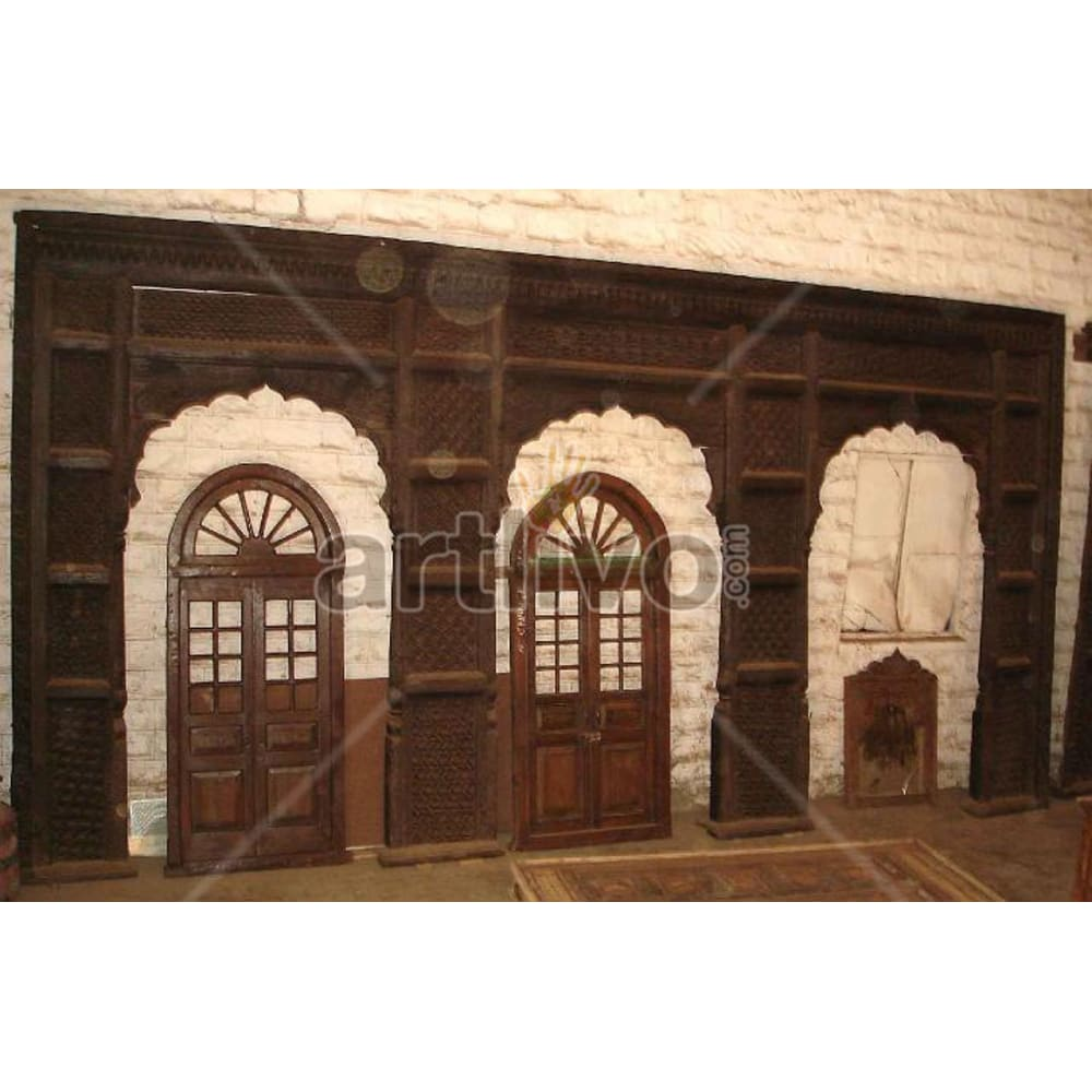 Antique Indian Brown Marvellous Solid Wooden Teak Door