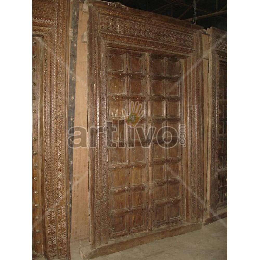 Antique Indian Chiselled Supreme Solid Wooden Teak Door