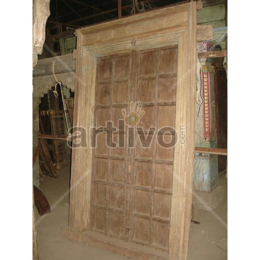 Antique Indian Engraved Marvellous Solid Wooden Teak Door