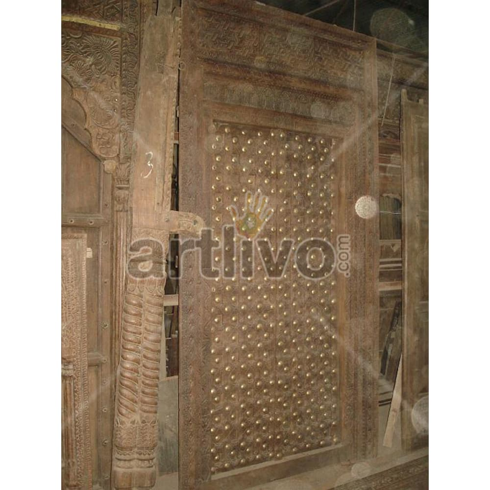 Antique Indian Sculpted Rich Solid Wooden Teak Door
