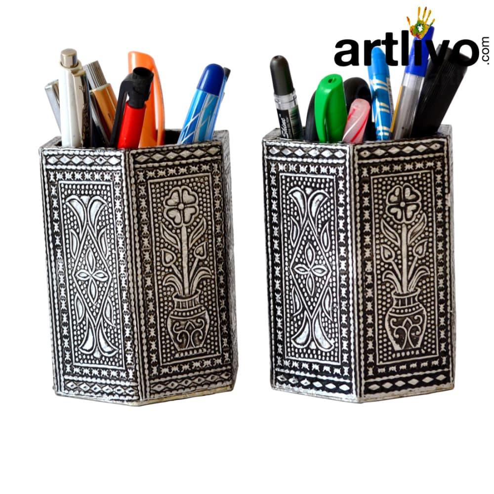 UBER ELEGANT Silver antique Hexagon Pen Holder Set of 2
