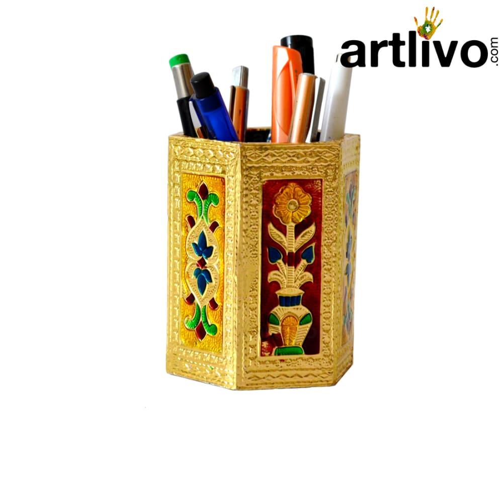 UBER ELEGANT Golden Metal Multicolor Hexagon Pen Holder