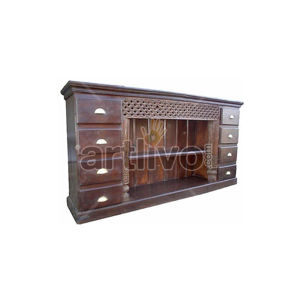 Vintage Indian Carved Plush Solid Wooden Teak Sideboard with 8 Drawer