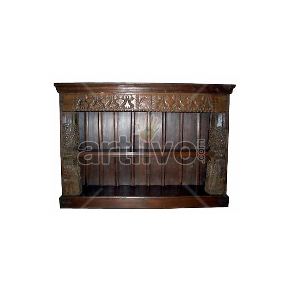 Vintage Indian Carved Royal Solid Wooden Teak Sideboard with open side
