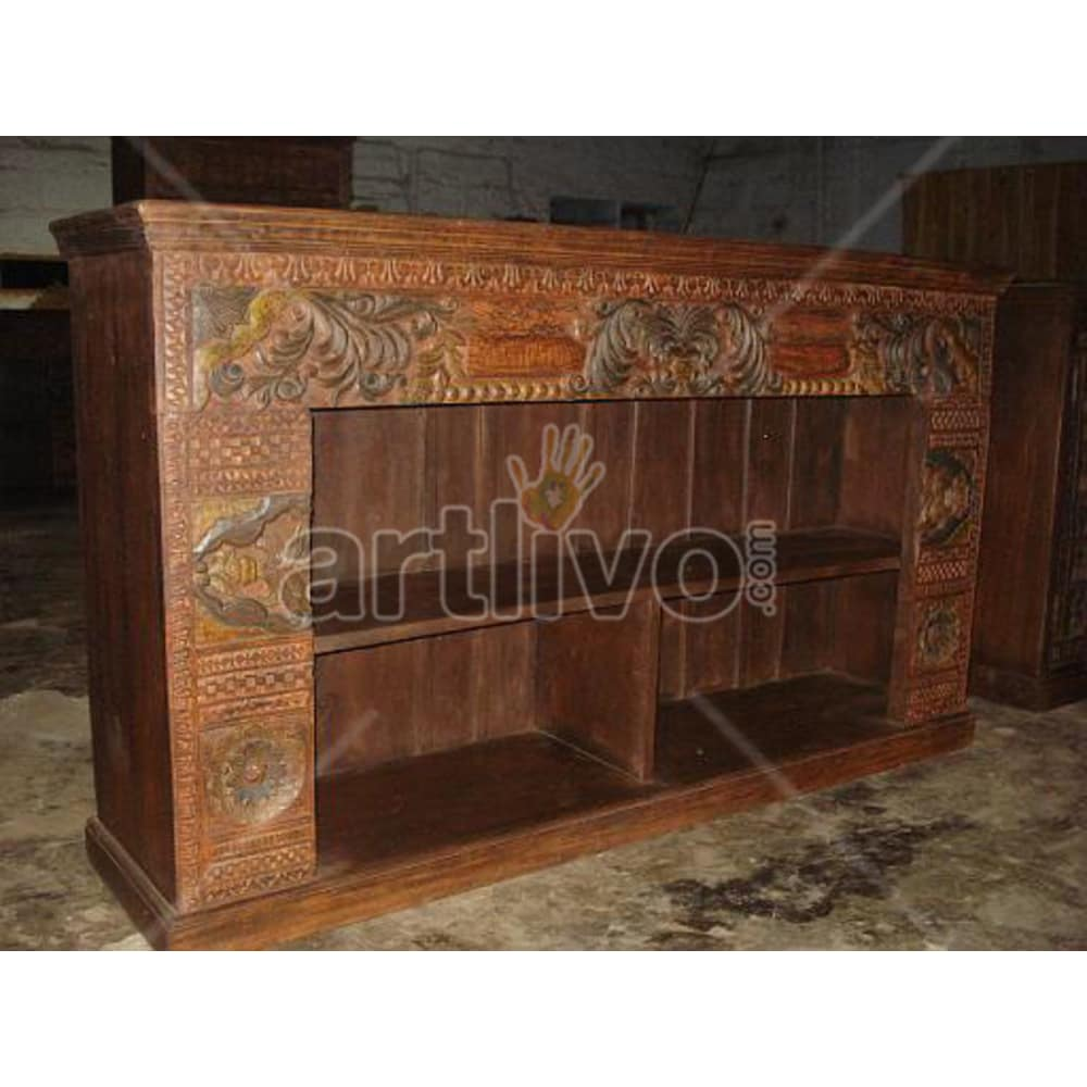 Vintage Indian Carved magnificent Solid Wooden Teak Sideboard with open side