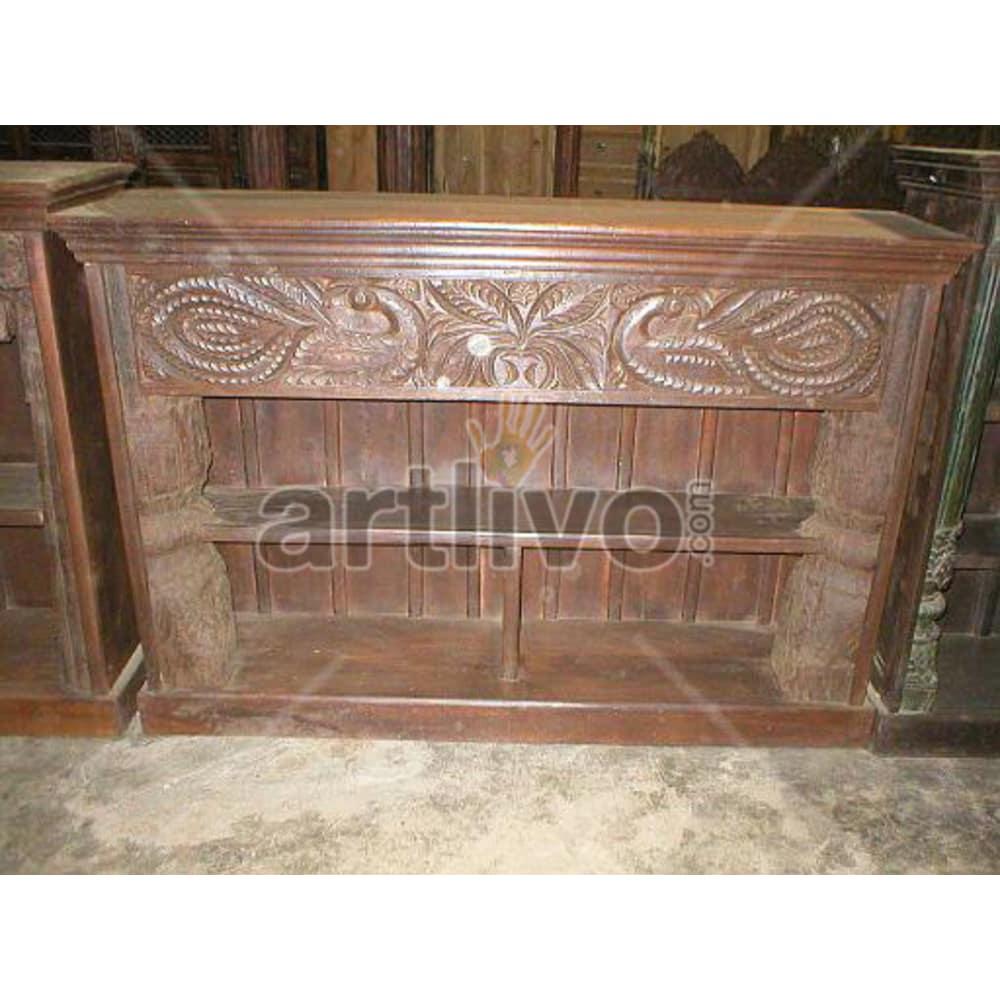 Vintage Indian Brown Lavish Solid Wooden Teak Sideboard with 2 drawer upper side with bottom open