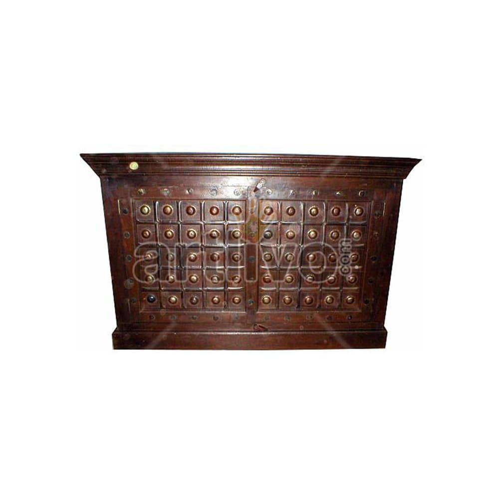 Vintage Indian Brown illustrious Solid Wooden Teak Sideboard with metal sun in square block