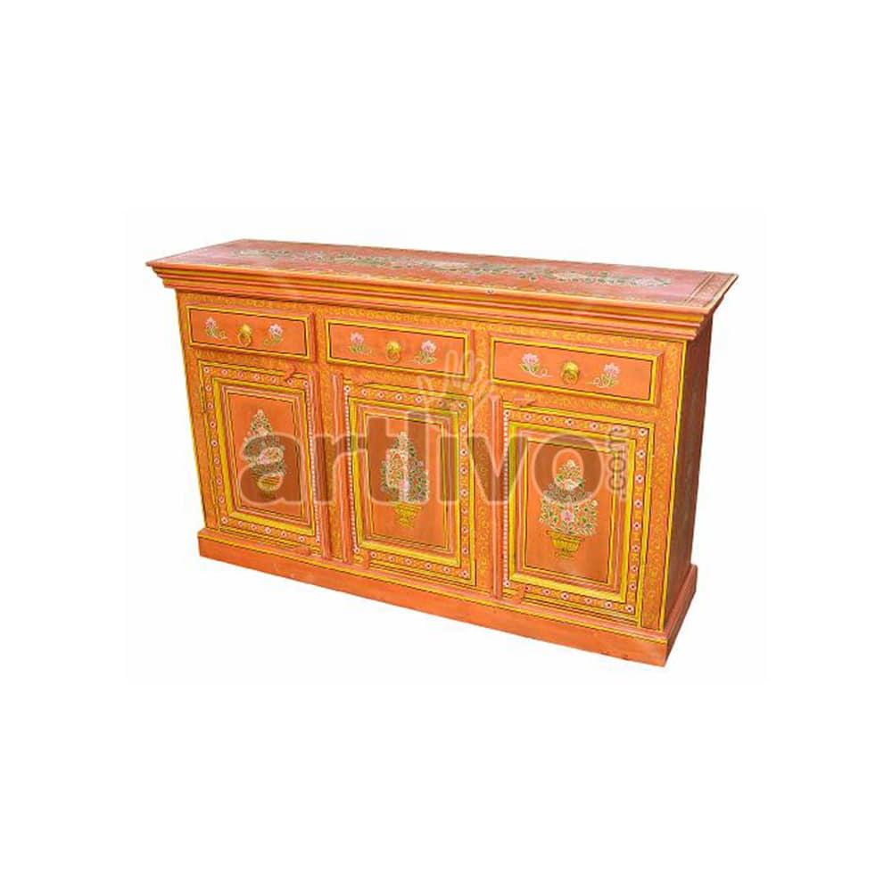 Vintage Indian Brown stately Solid Wooden Teak Sideboard with 3 door & 3 Drawer