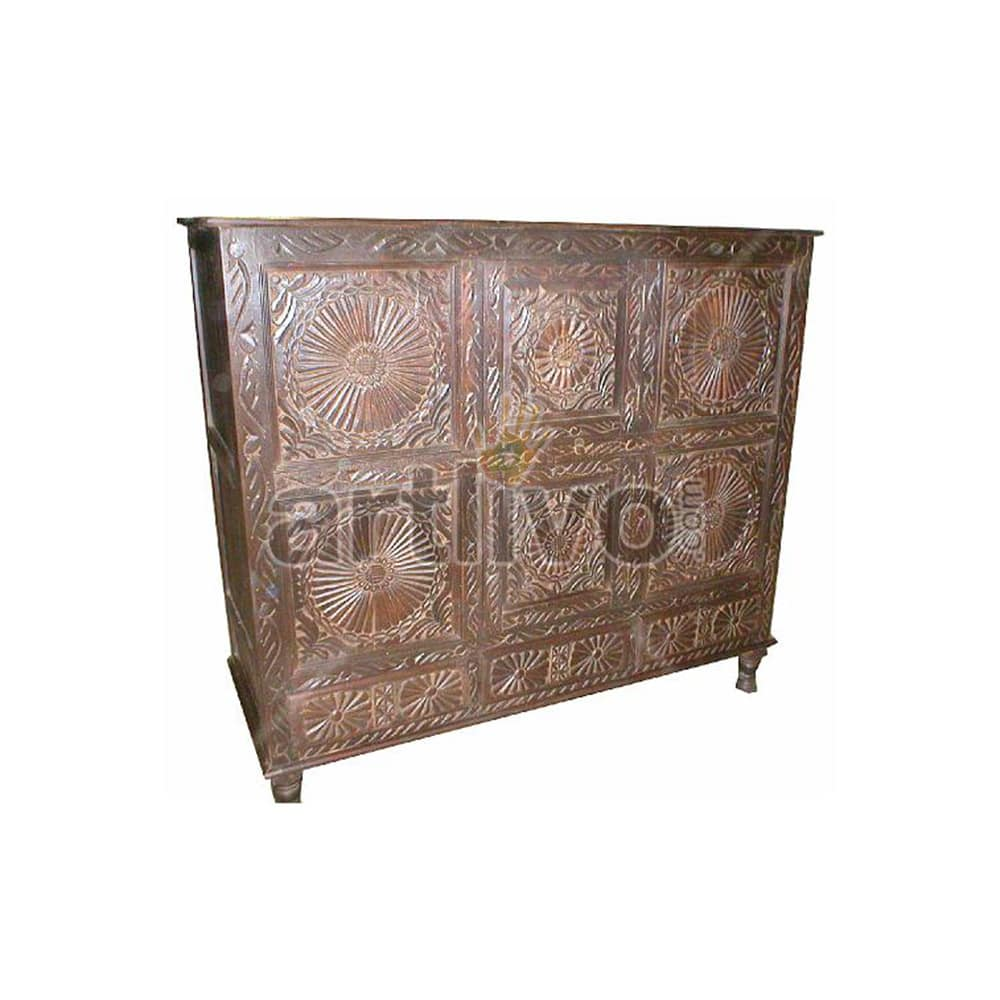 Vintage Indian Engraved Opulent Solid Wooden Teak Sideboard with chisseled work