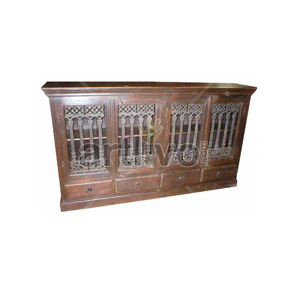 Vintage Indian Engraved Ostentatious Solid Wooden Teak Sideboard with 4 door 4 drawer