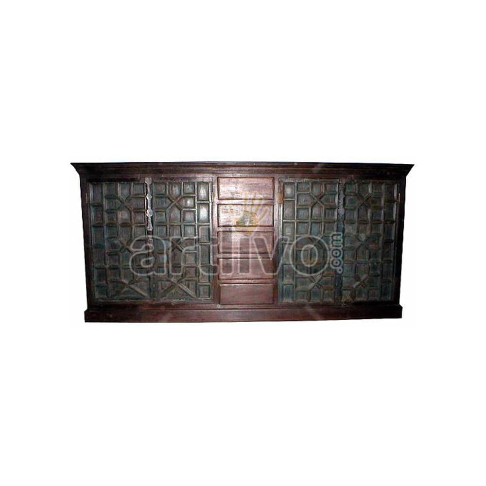 Vintage Indian Engraved Plush Solid Wooden Teak Sideboard with 5 drawer in middle and 4 door