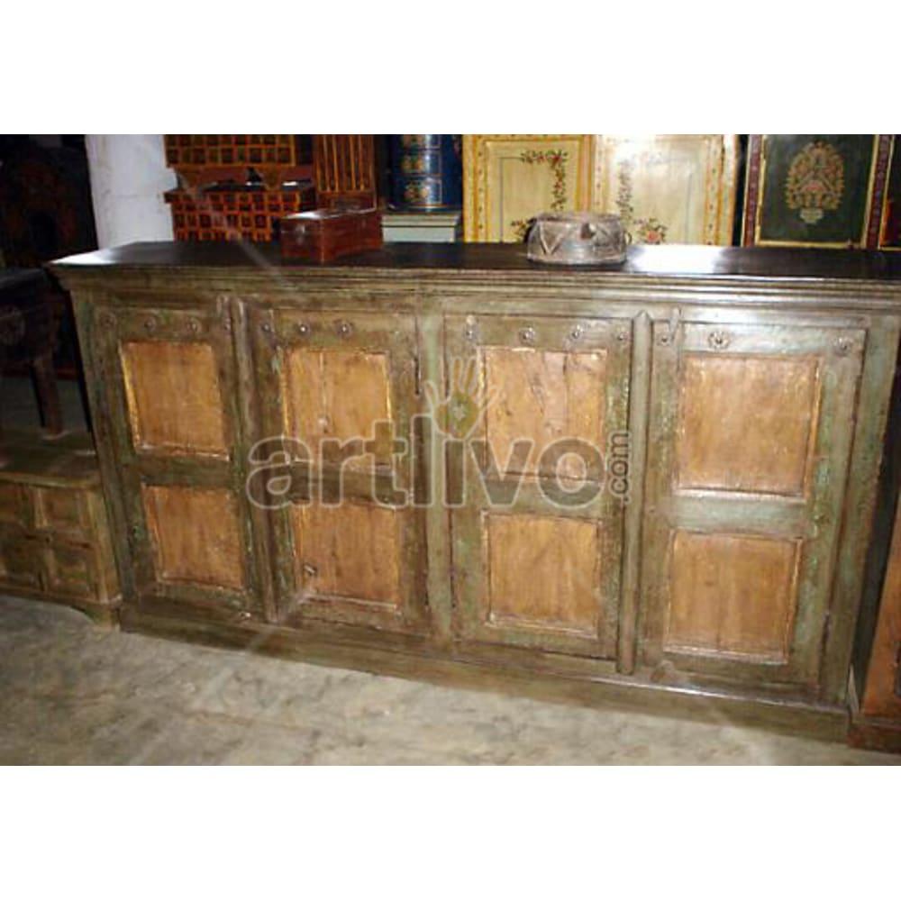 Vintage Indian Sculptured Opulent Solid Wooden Teak Sideboard