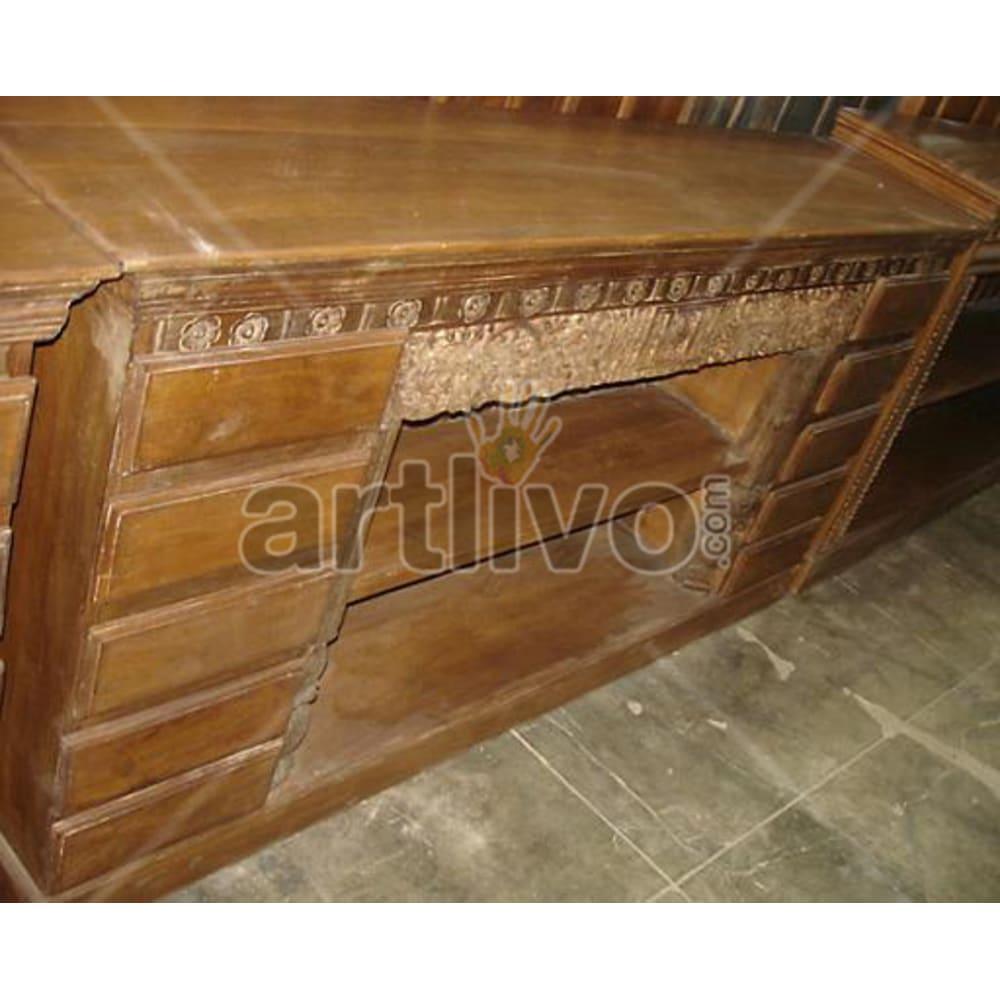Vintage Indian Beautiful Supreme Solid Wooden Teak Sideboard