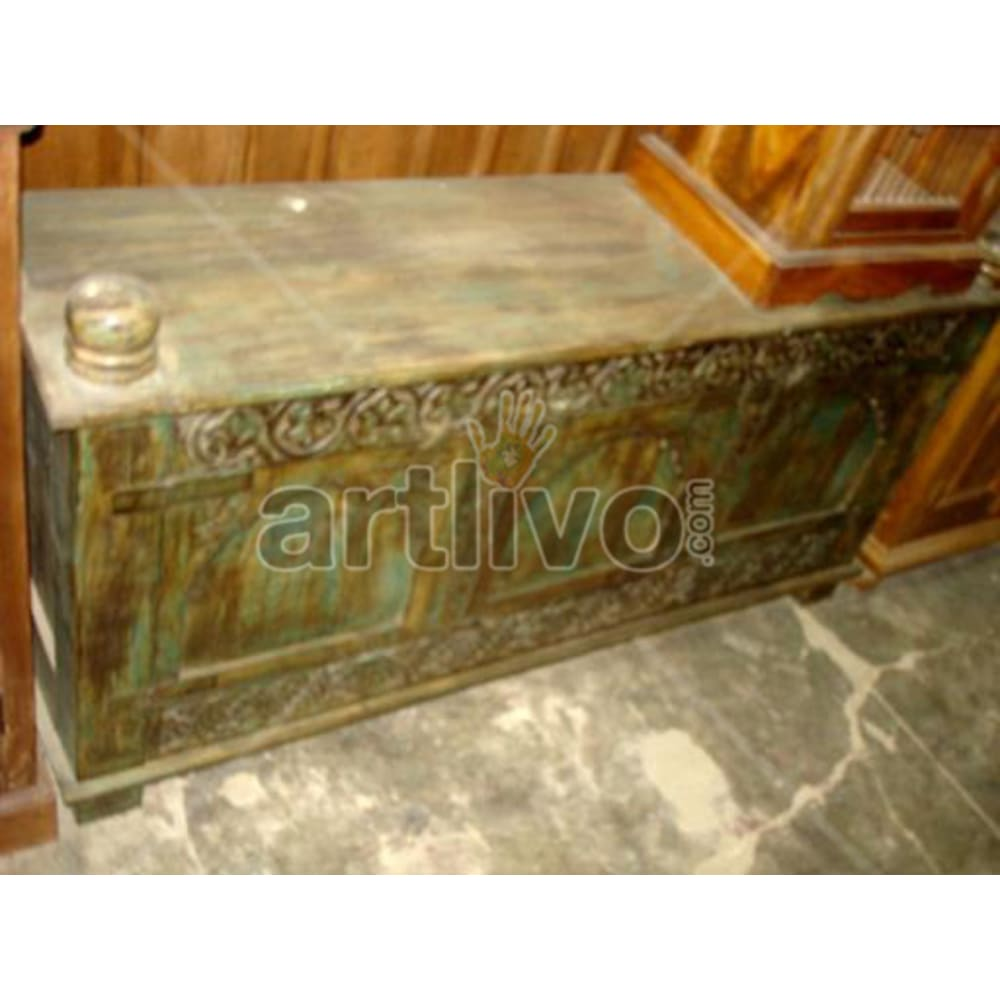 Antique Indian Carved Lavish Solid Wooden Teak Sideboard