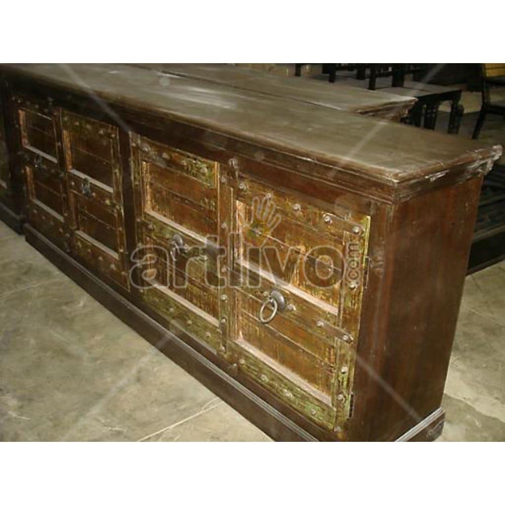 Antique Indian Carved Plush Solid Wooden Teak Sideboard
