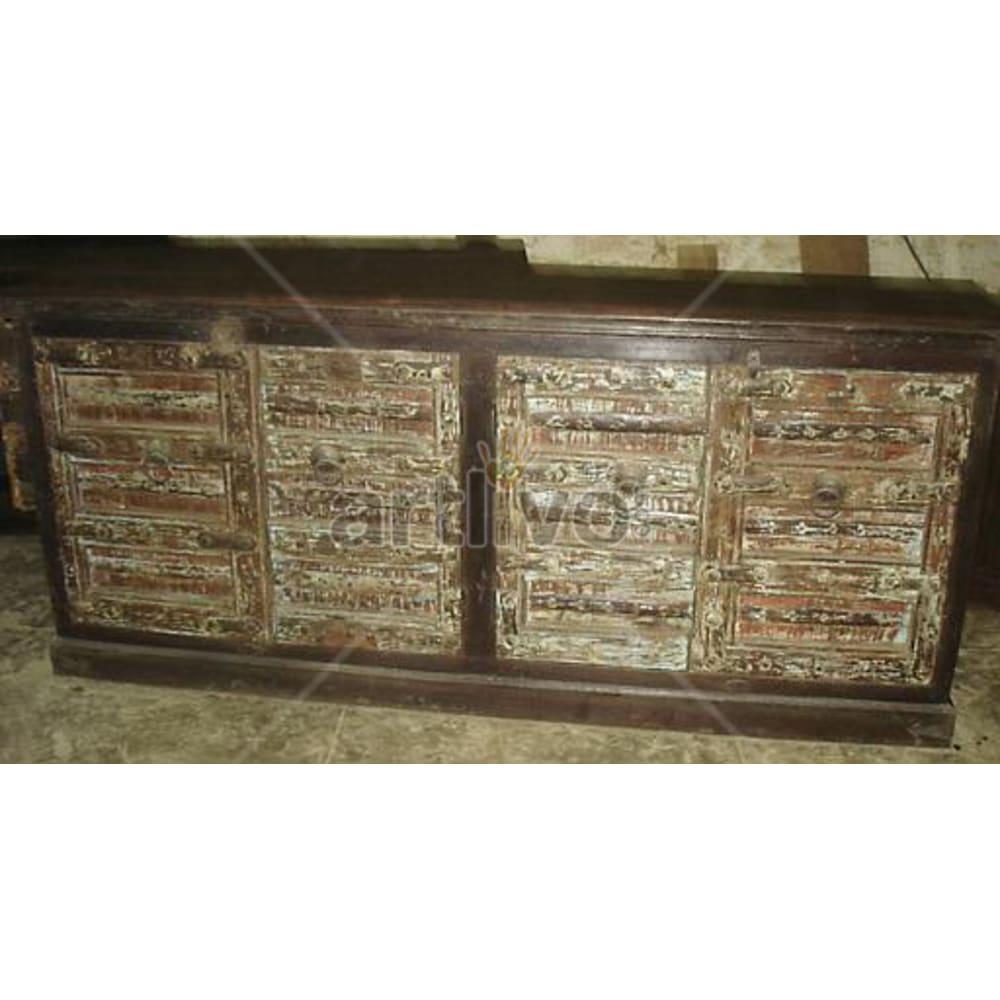Antique Indian Carved Royal Solid Wooden Teak Sideboard