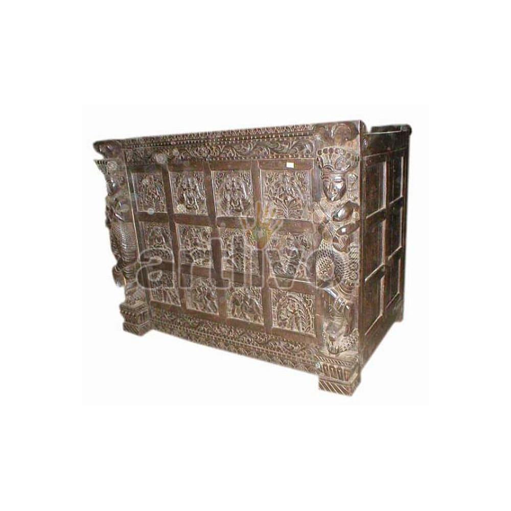 Antique Indian Chiselled Plush Solid Wooden Teak Sideboard