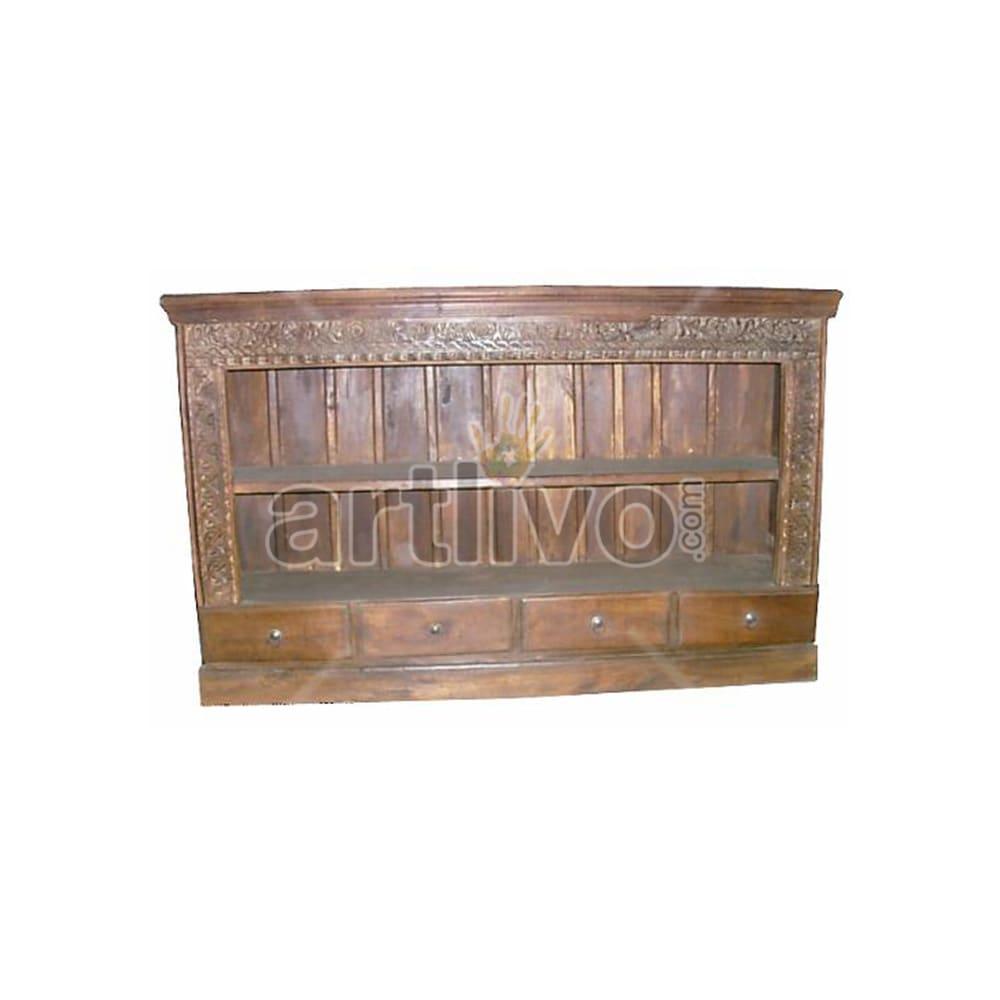 Antique Indian Engraved Plush Solid Wooden Teak Sideboard