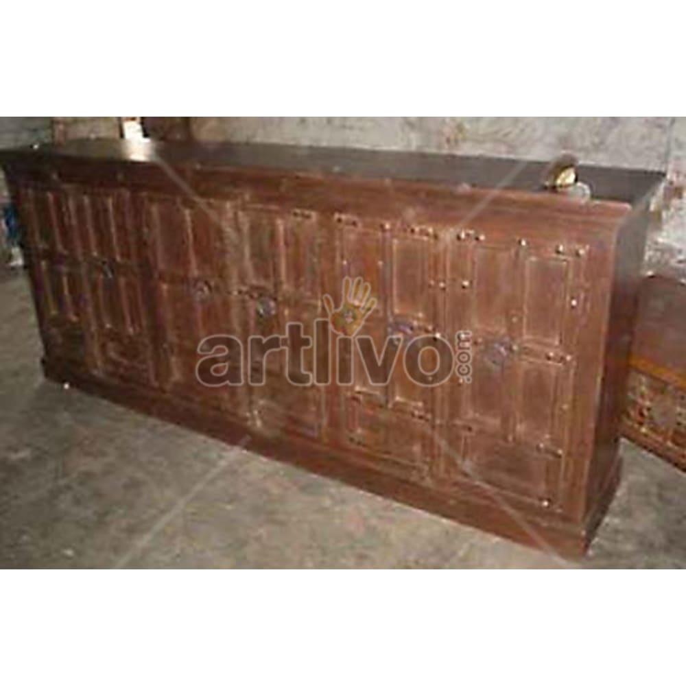 Antique Indian Sculpted Unique Solid Wooden Teak Sideboard