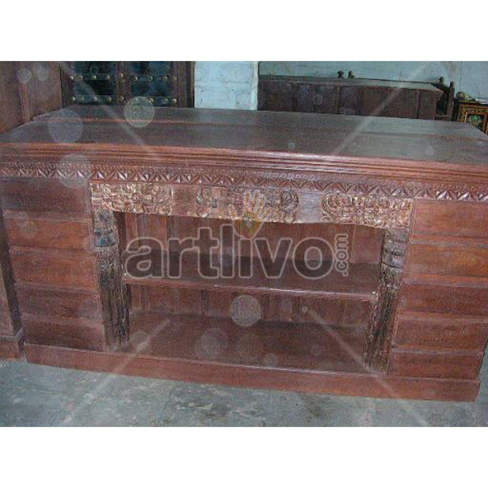 Antique Indian Sculpted noble Solid Wooden Teak Sideboard
