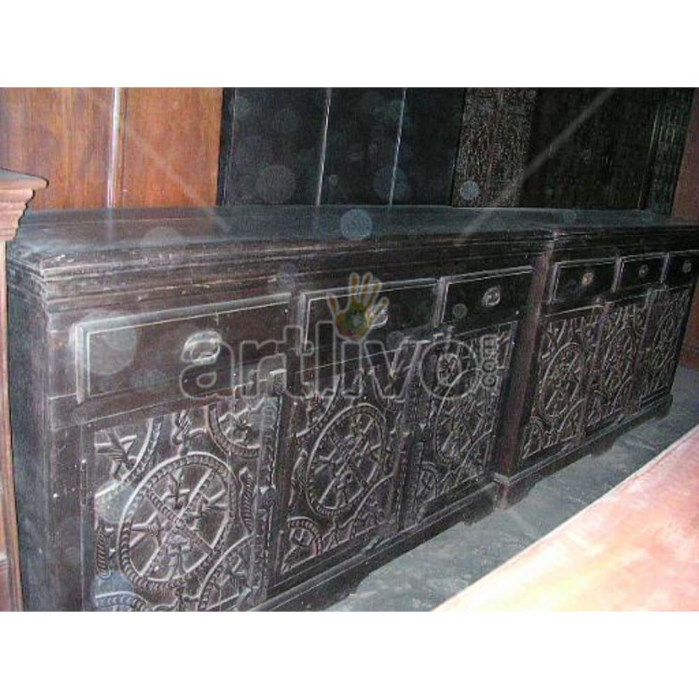 Antique Indian Sculpted Supreme Solid Wooden Teak Sideboard