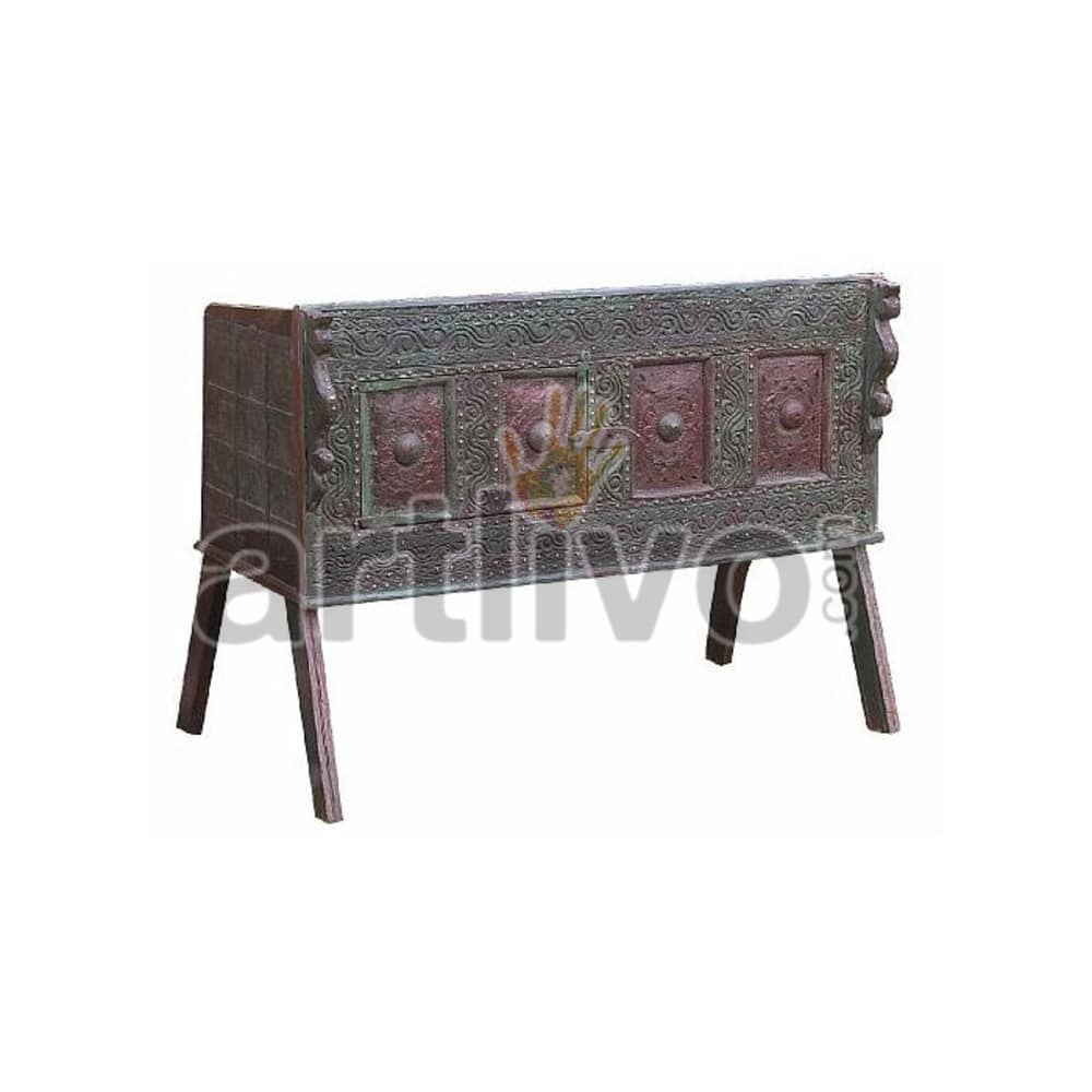Antique Indian Carved Extravagant Solid Wood colorfull design Trunk