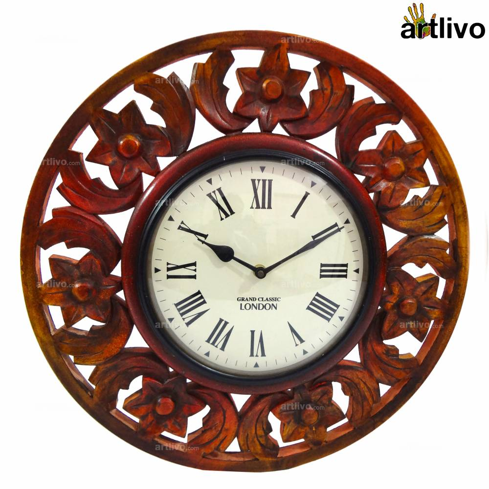 """Wooden Carved Round Wall Clock 16"""""""