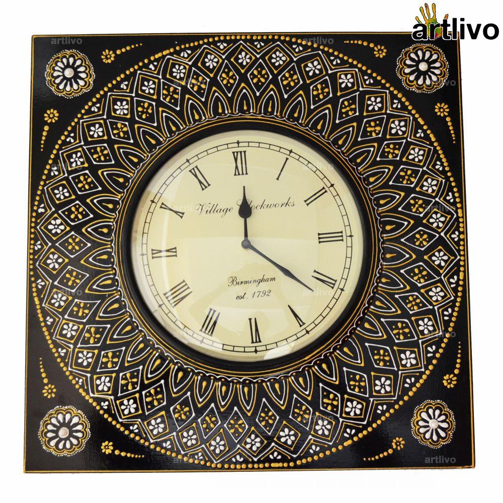 "EMBOSSED Black Square Wall Clock 21"""
