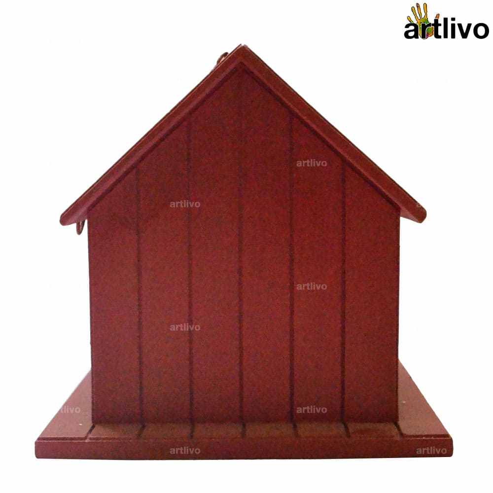 Decorative Hanging Bird House - Red