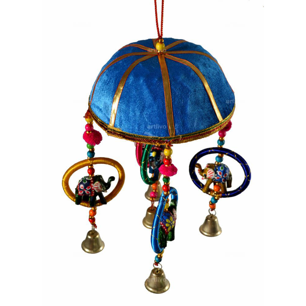 "POPART 6"" Basket with Elephant-Chudi-Bells Hanging - Blue"