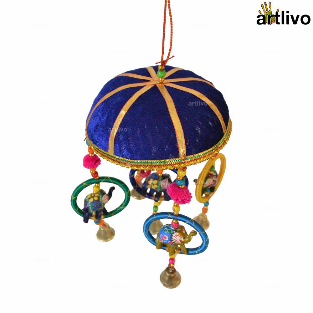 "POPART 6"" Basket with Elephant-Chudi-Bells Hanging - Dark Blue"