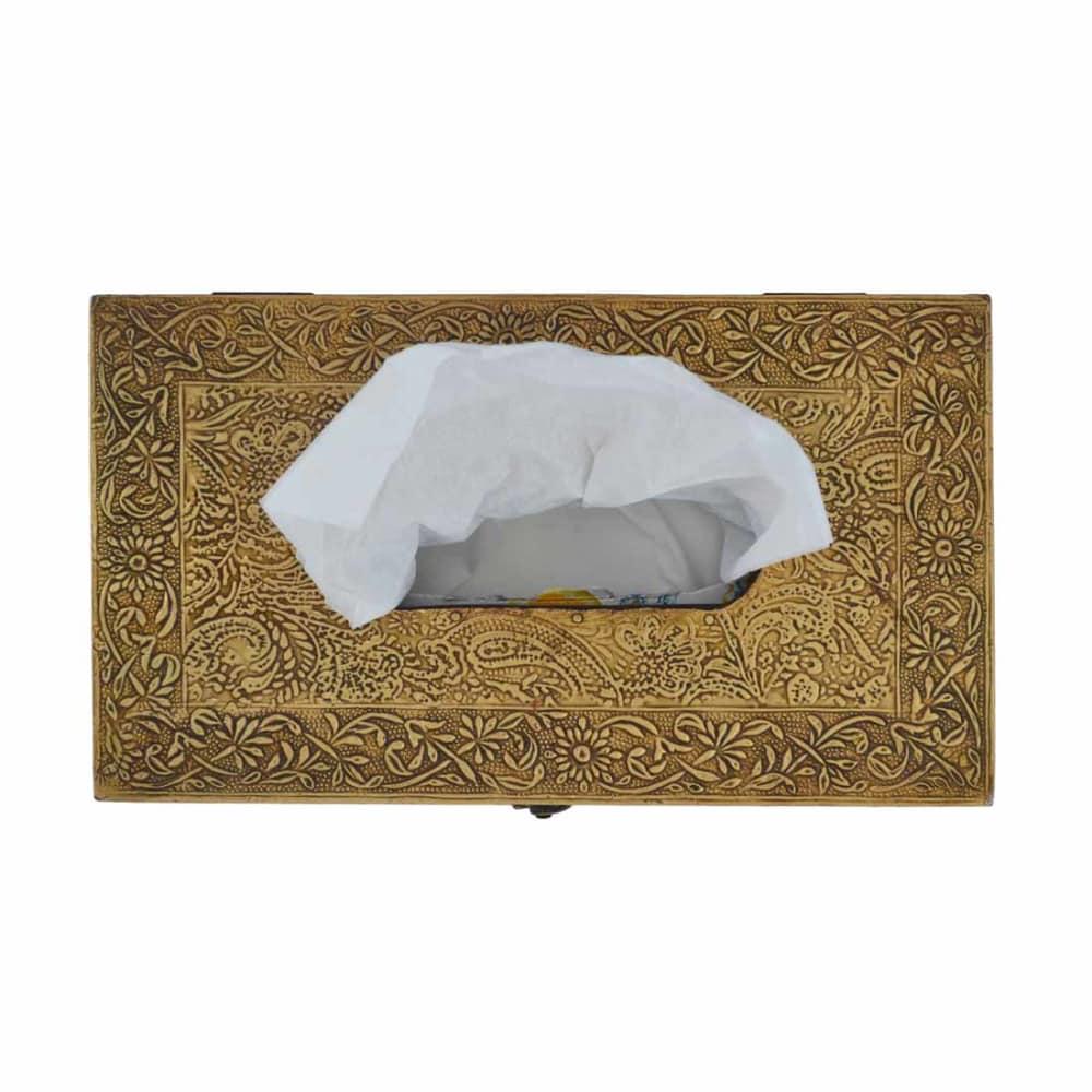 UBER ELEGANT Golden Brass Tissue Box
