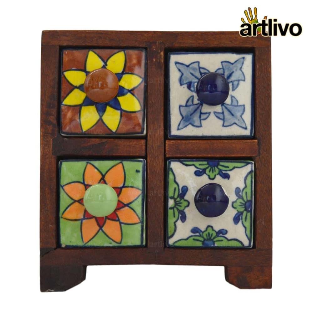 POPART Ceramic 4 Drawer Square Box - BO127