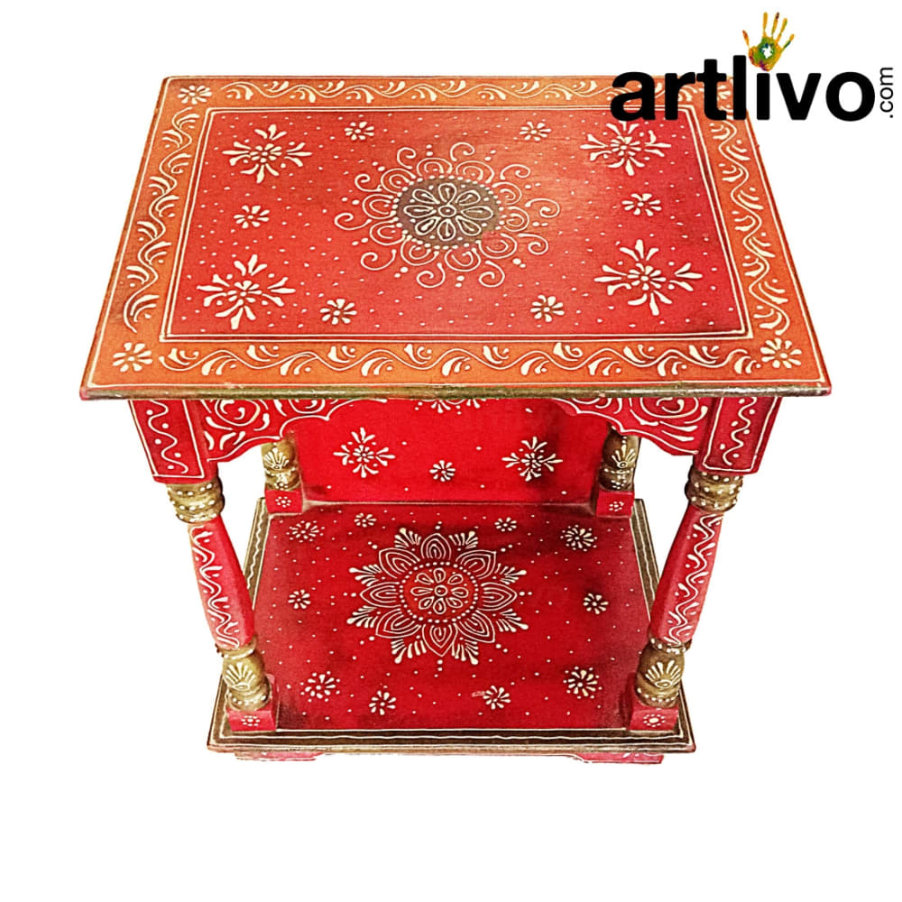 Artlivo Bold Red Wooden Teppered Temple