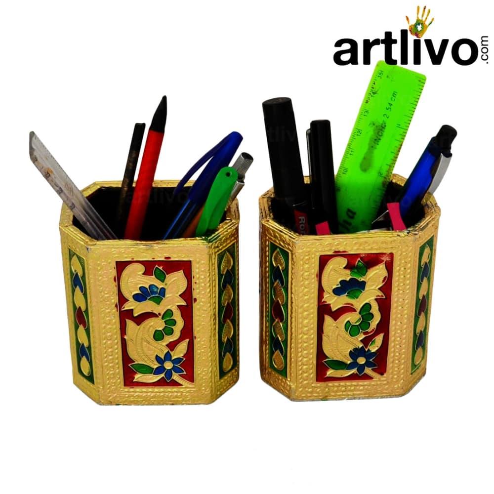 UBER ELEGANT Golden Multicolor Pen Holder - Set Of 2 for office/home/kitchen