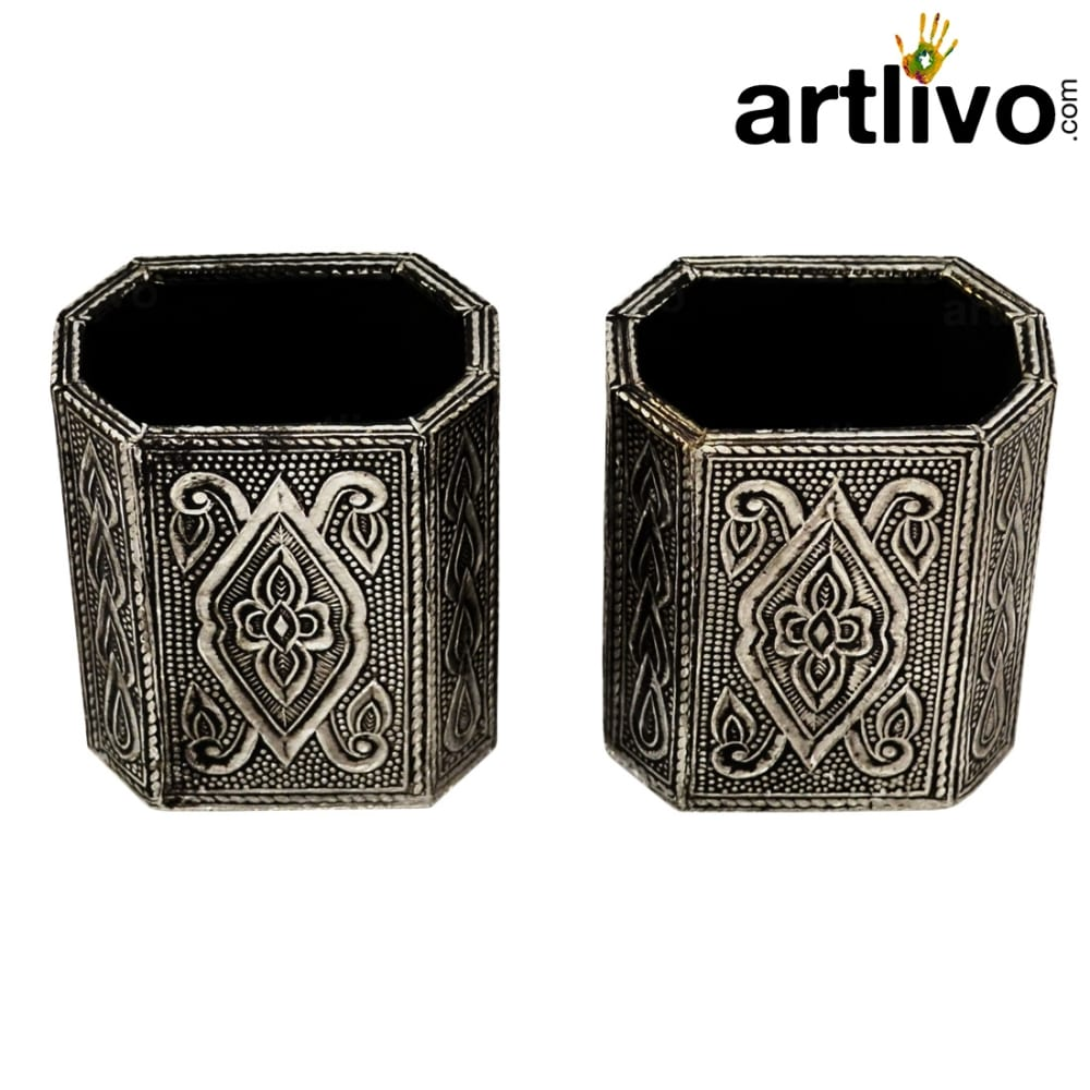 Metal Pen Holder in Antique look - Set of 2