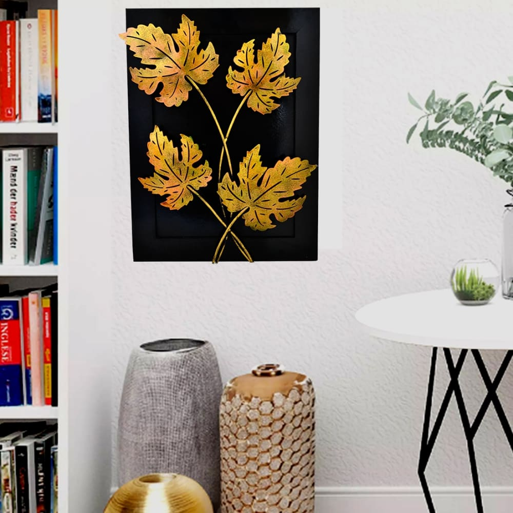 Artlivo Home Decor-Iron Handmade Leaf Design Natural Theme Decorative Wall Hanging Showpiece Gift 20 X15 X 3 Inches Diwali Decoration Items for Home
