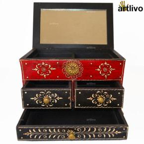 BOLD RED 3 Drawers Jewellery Box